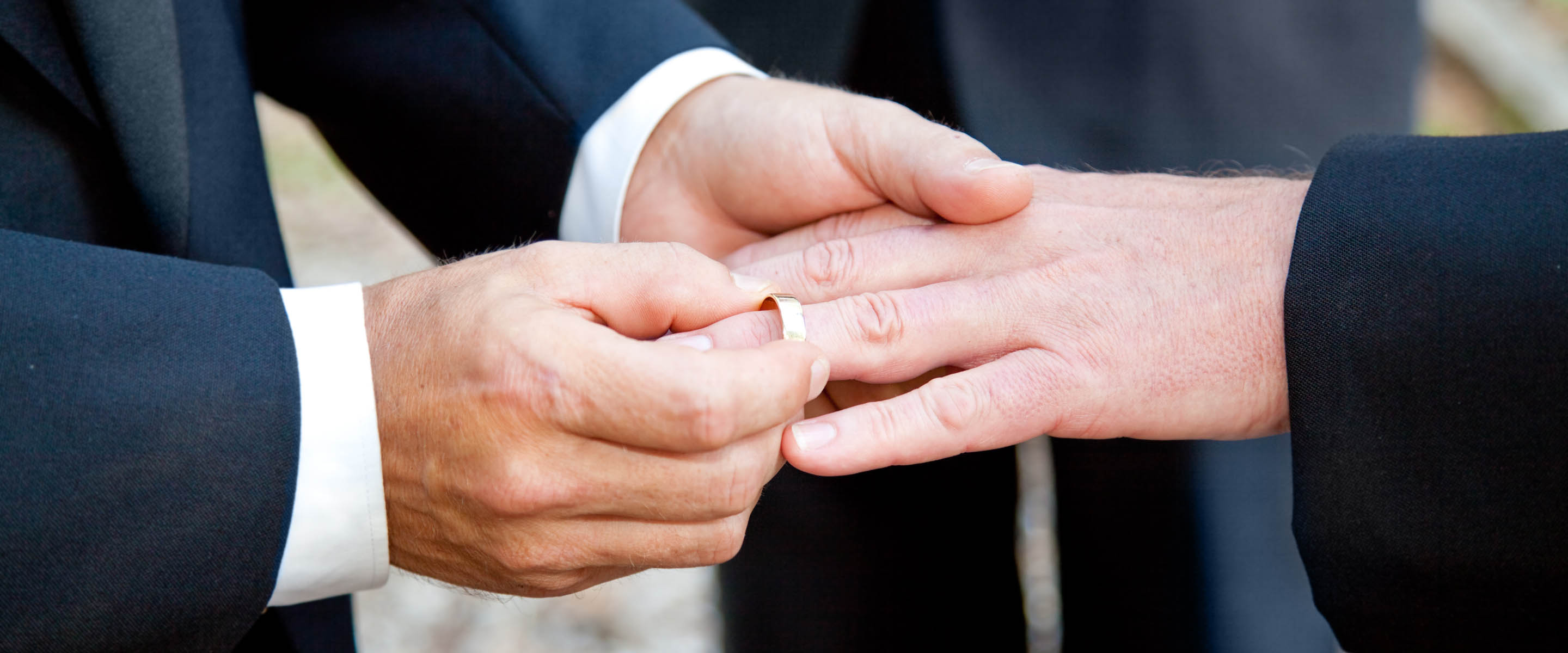 Male couple exchange wedding rings